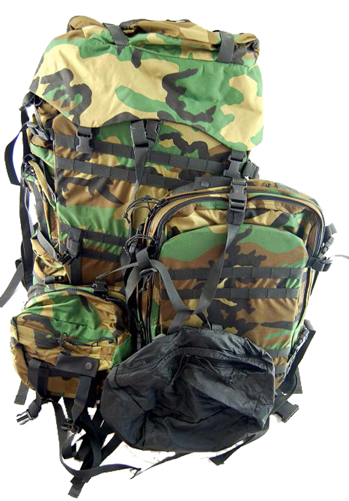 USA Bianchi Spear Backpack Subsystem  Large Pack Patrol Pack Butt Pack Compression Stuff Sacks