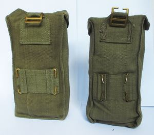Belgian / British Magazine Pouch  Canvas with Webbing Attachments Brass Stud Closer