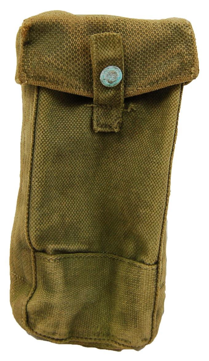 BritishType WWII Era Magazine Pouch  Canvas with Webbing Attachments Pattern 37 Type
