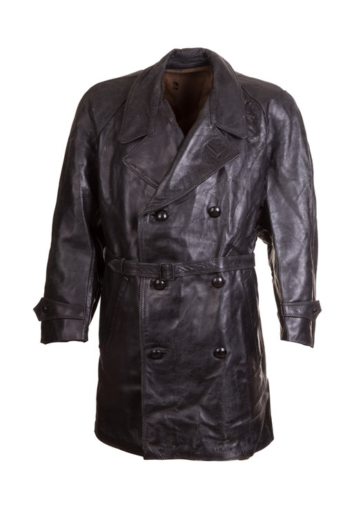 Italian Leather Police Coat  Double Breasted