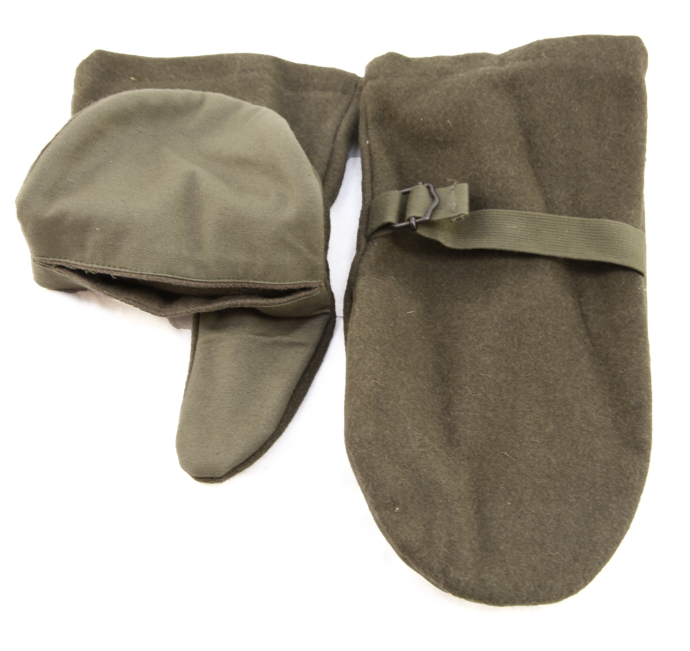 Austrian Sniper Mittens  Adjustable Wool Backed Cotton Palms