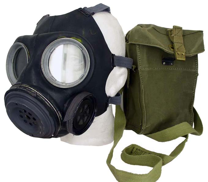 British WWII Type Gasmask  In Nostalgic Khaki  Bag