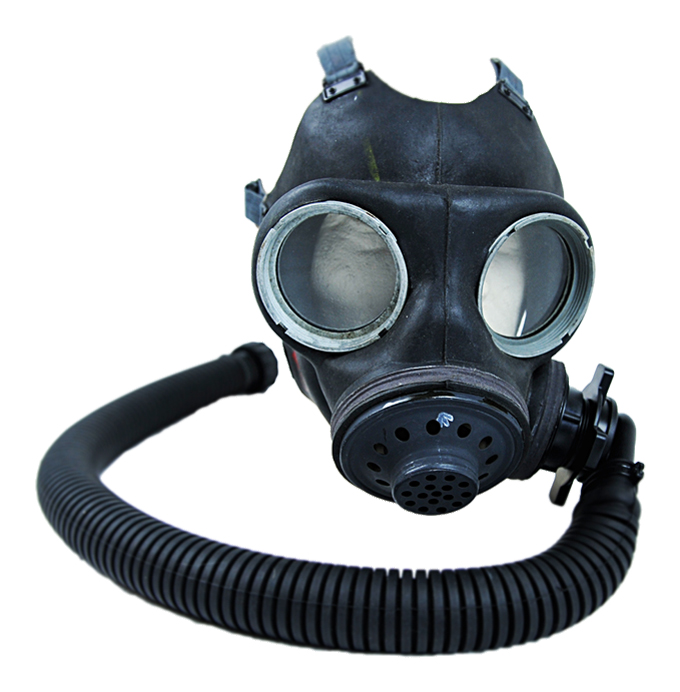 Rubber Twin Eye Full FaceGas Mask with HoseGenuine Issue All Rubber