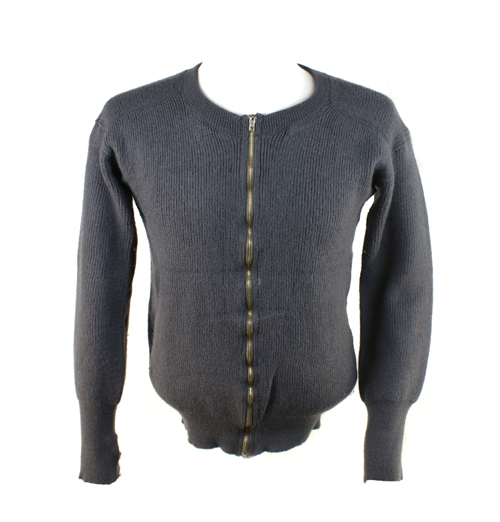 Civil Defence Cardigan  100% Wool with Metal Zip & Contrast Thumb Hole Cuff Detail