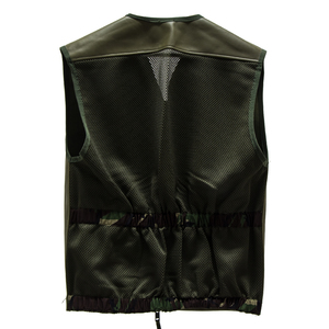 British Leather Jerkin  Heavy Duty Opti Zip Leather Front Mesh Back
