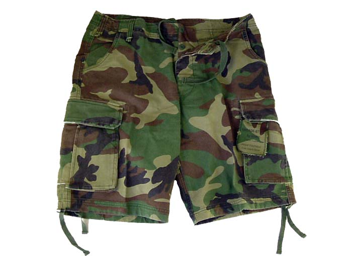 Army Camouflage Combat Shorts  Knee Length Heavyweight Material