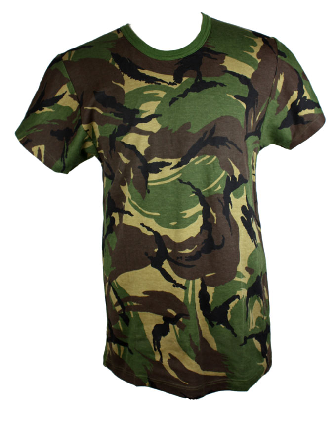 Dutch GI Issue Camo TShirt  Heavyweight Brushed Cotton Material Round Neck